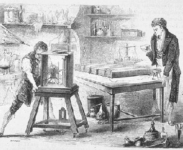 picture of Humphry Davy experimenting in the laboratory