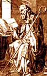 picture of Saint Hilary, Bishop of Poitiers, with halo